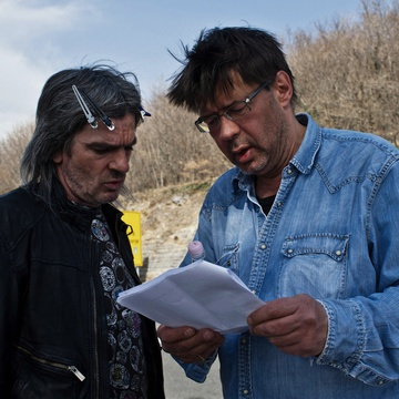 Senad Bašić, Miroslav Mandić on the set of Adria Blues (2013).