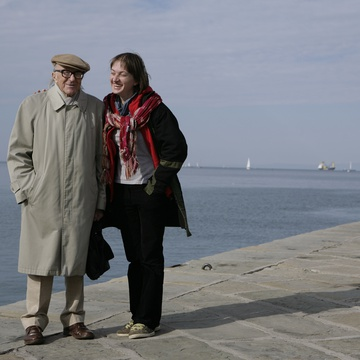 Boris Pahor, Petra Seliškar on the set of Mama Europa (2013).