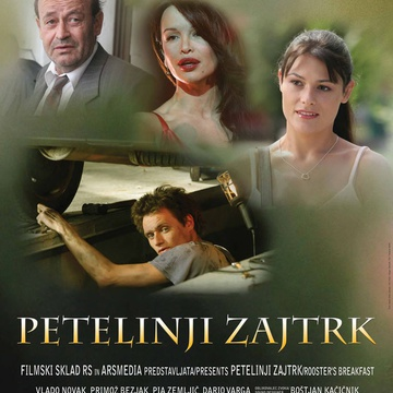 The poster for Petelinji zajtrk (2007). In this photo:  Primož Bezjak, Vlado Novak, Severina Vučković, Pia Zemljič