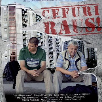 The poster for Čefurji raus! (2013). In this photo:  Dino Hajderović, Jernej Kogovšek, Benjamin Krnetić, Ivan Pašalić