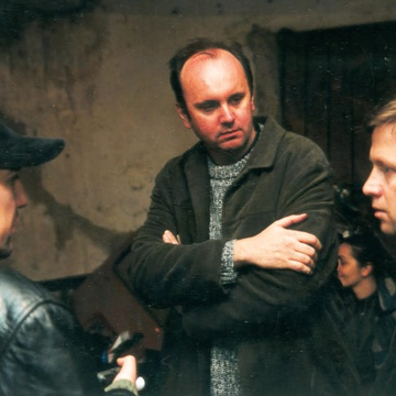 Danijel Hočevar, Damjan Kozole on the set of Rezervni deli (2003).