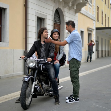 Benjamin Krnetić, Ylenia Mahnič, Slobodan Maksimović on the set of Nika (2016).