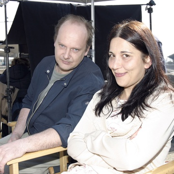 Peter Musevski, Marjuta Slamič on the set of Delo osvobaja (2004).