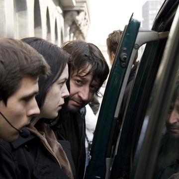 Aleš Belak, Nina Ivanišin, Marko Šantić on the set of Slovenka (2009).