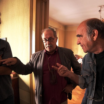 Boris Bezić, Marko Sosič, Radovan Čok on the set of Komedija solz (2016).