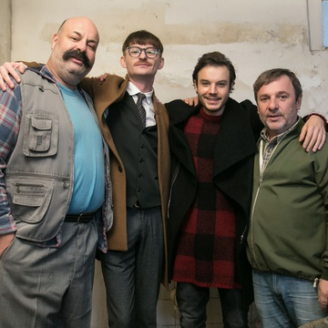 Francesco Borchi, Bojan Emeršič, Moamer Kasumović, Jernej Šugman on the set of Fountain (2017).